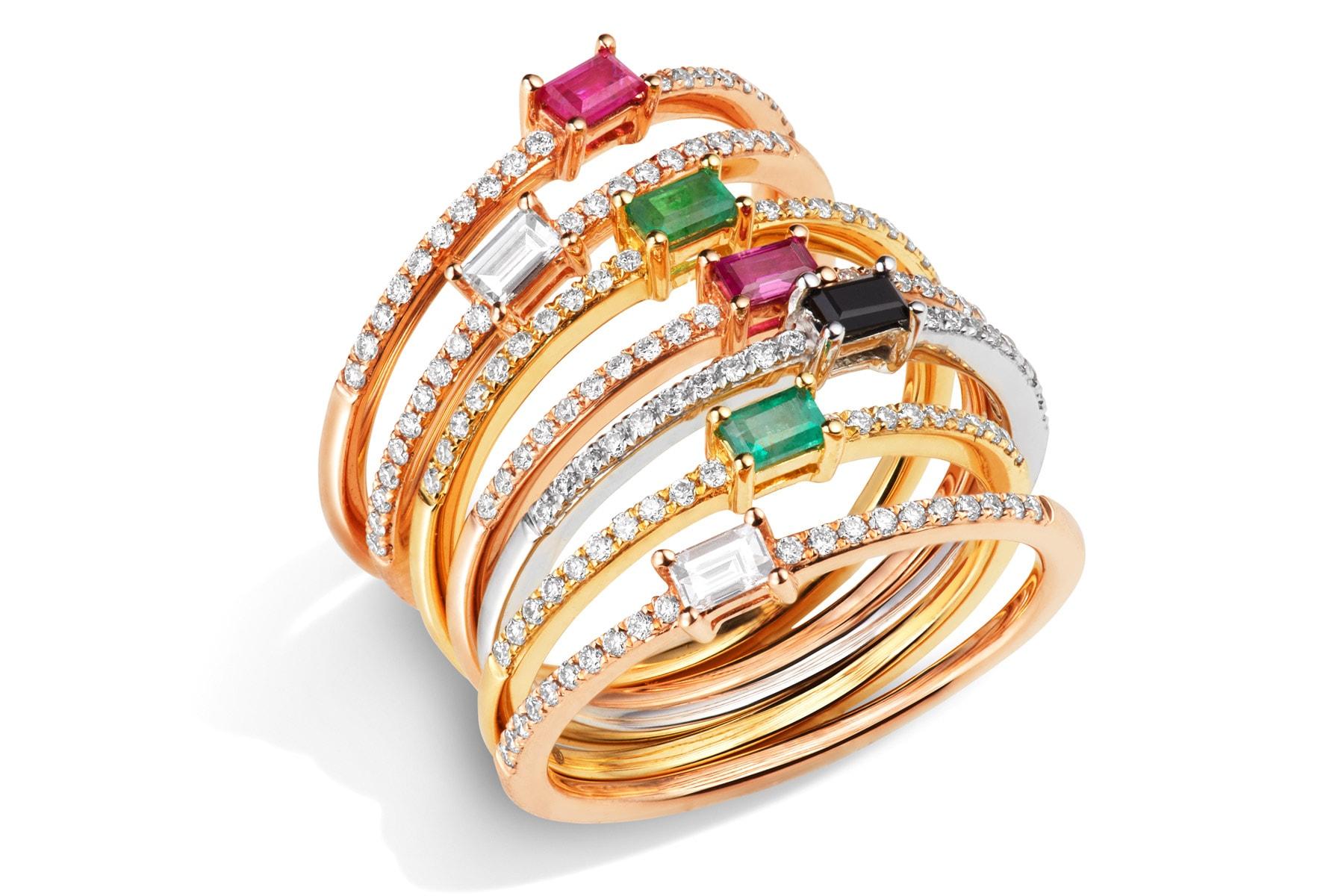 Packshot bagues or rose, diamant, saphir, rubis, émeraude