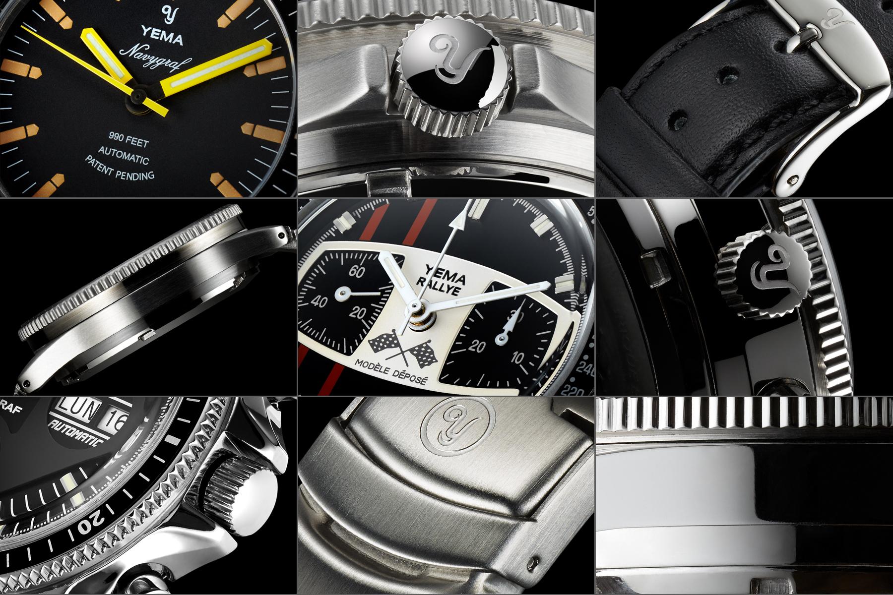 Packshot montre horlogerie Yema - Vues de détail