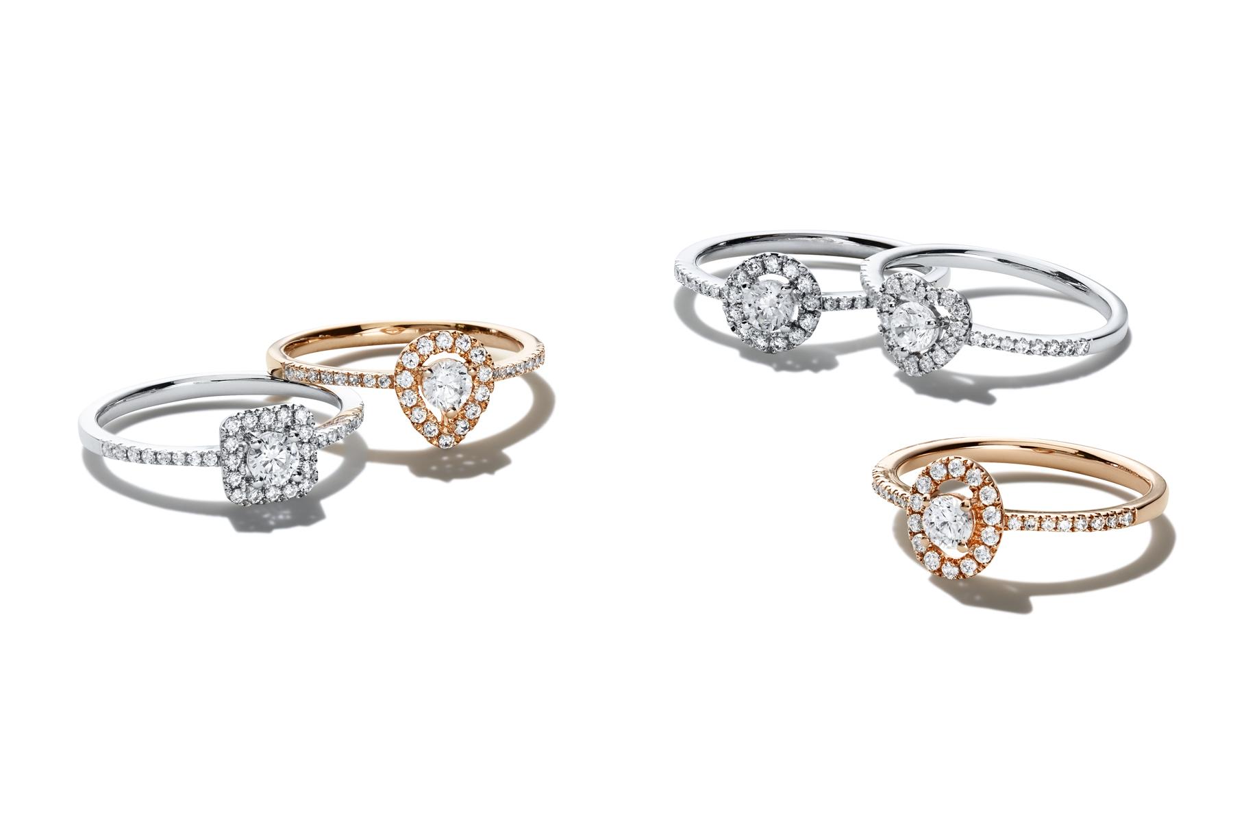 Packshot bagues diamants or rose et blanc