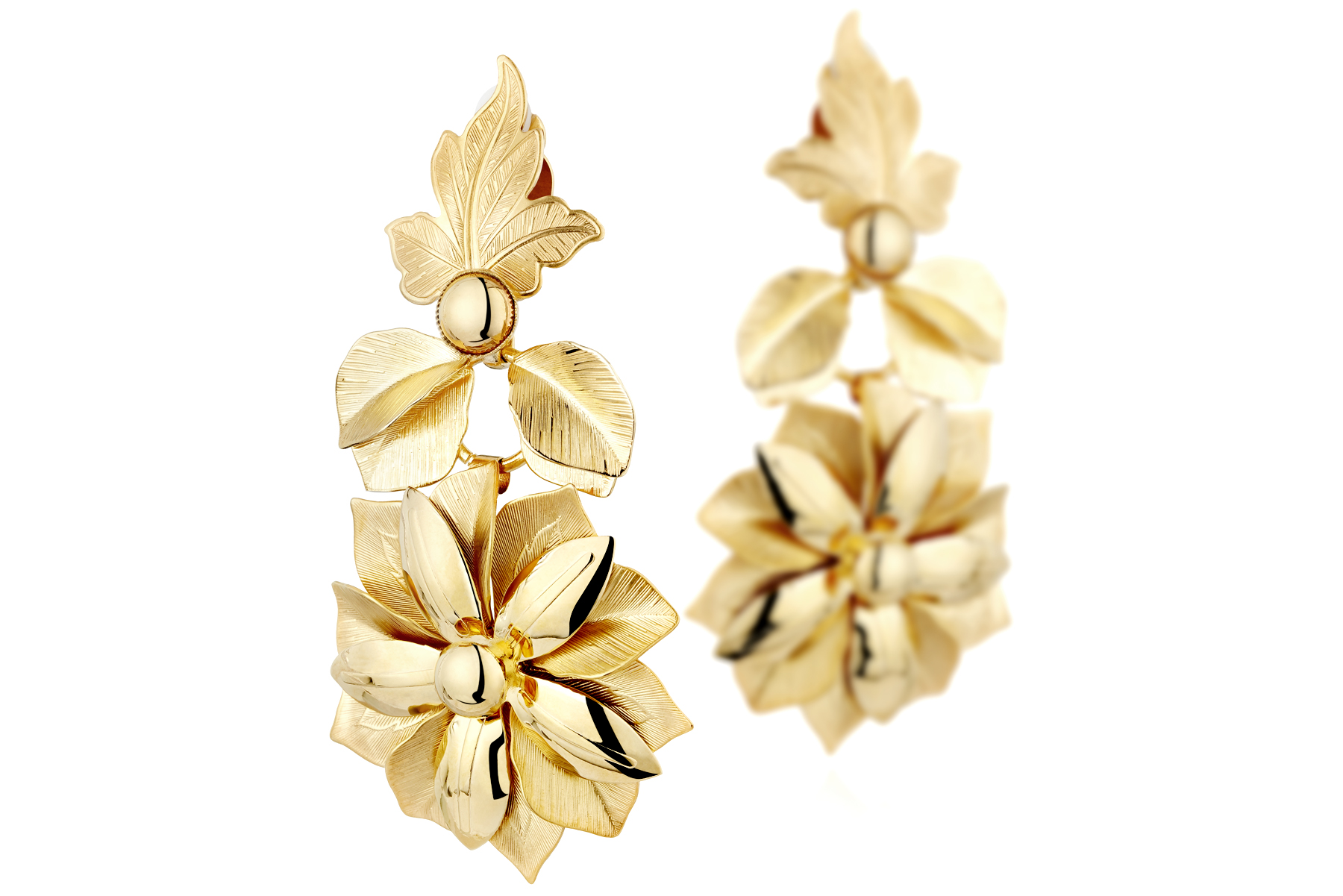 Packshot boucles d'oreilles clip fantaisie dorure à l'or fin