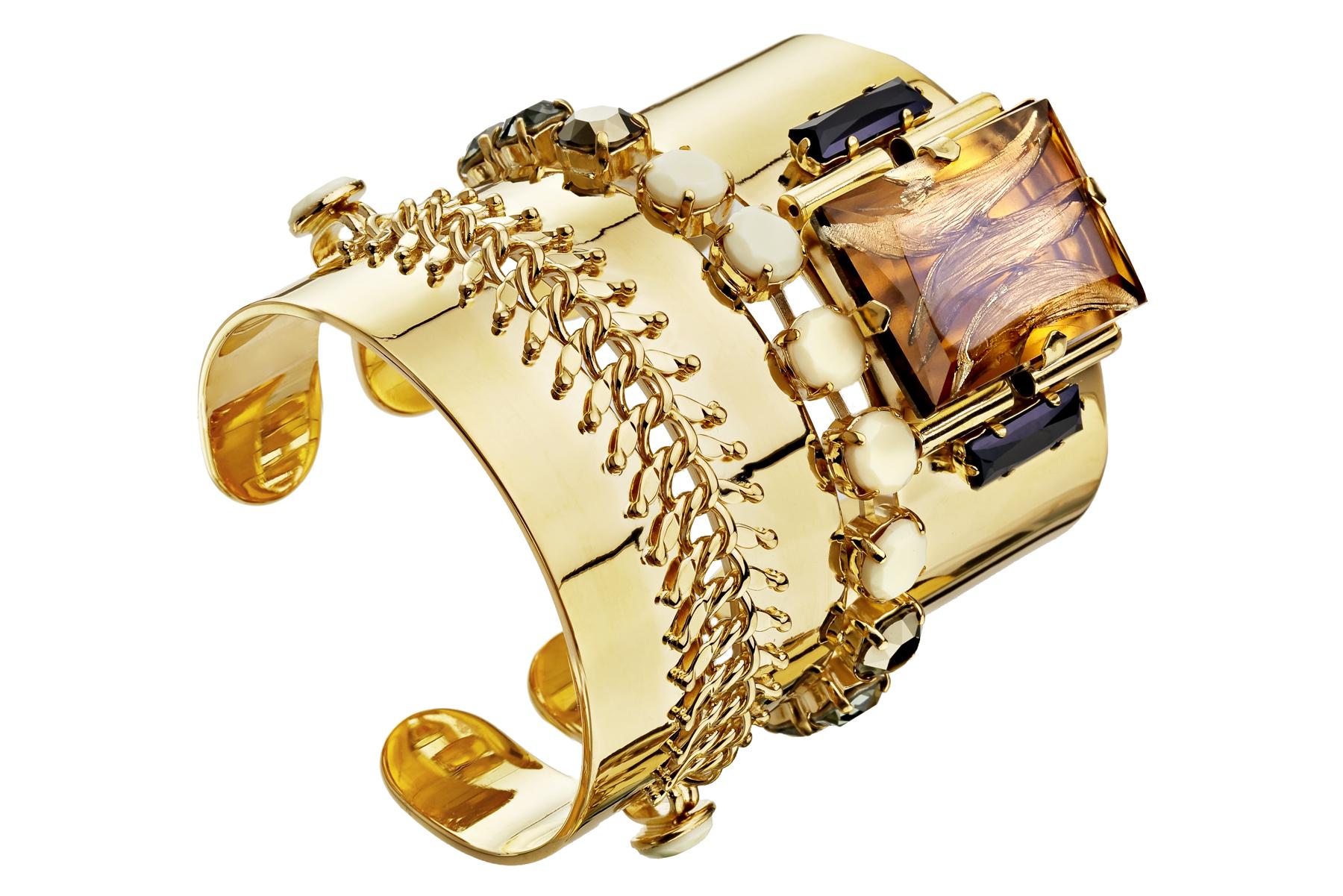 Packshot bracelet manchette fantaisie dorure or fin