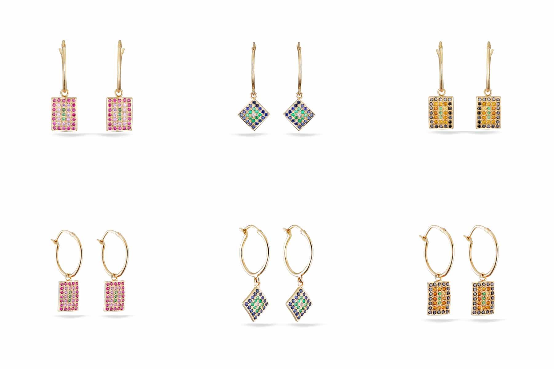 Packshot boucles d'oreilles or jaune - rubis, saphir, émeraude