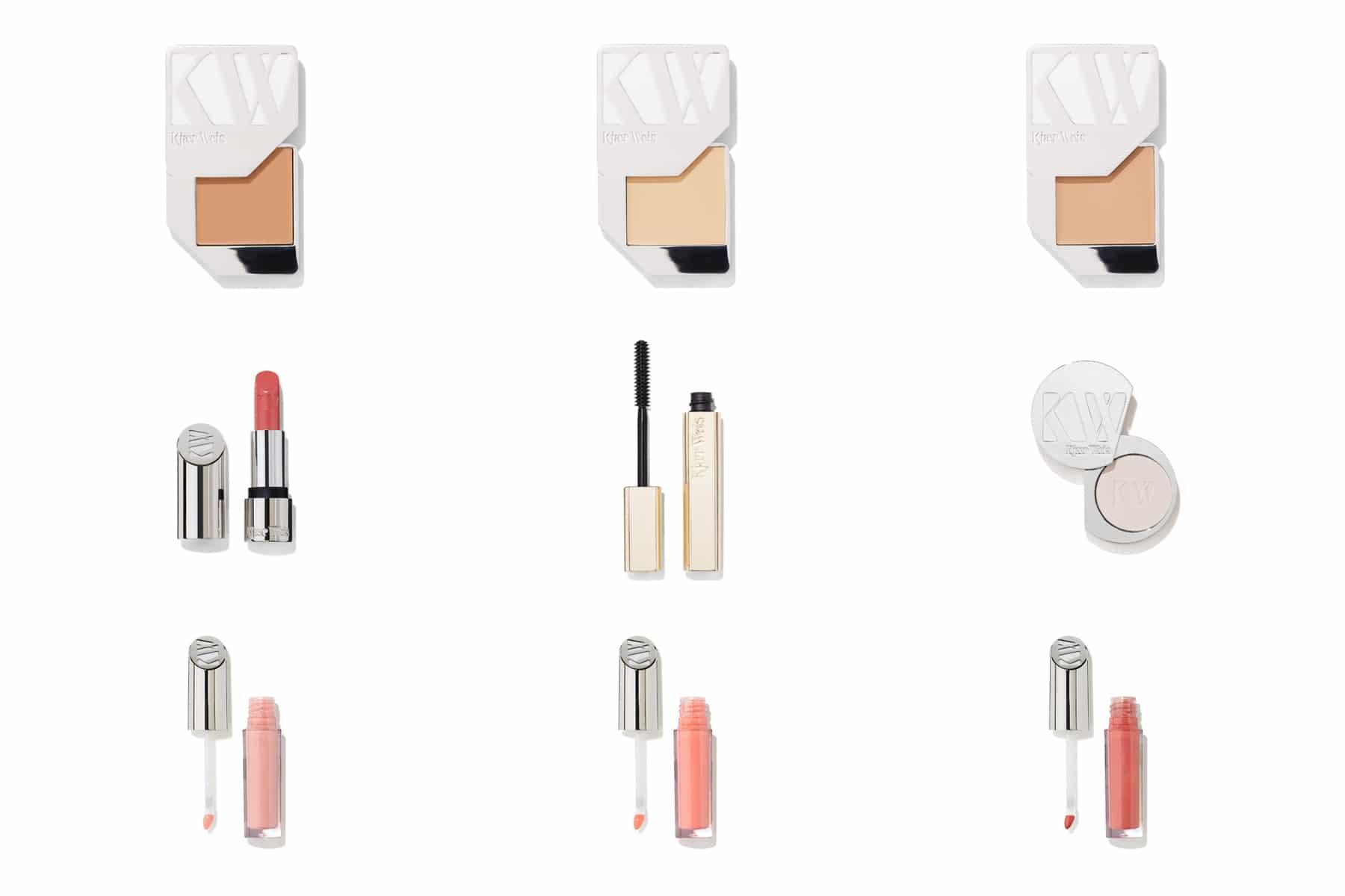 Packshot produits de beauté, maquillage - Masacara, Lip Gloss, rouge à lèvres, ombre à paupières et enlumineur Kjear Weis pour Oh My Cream