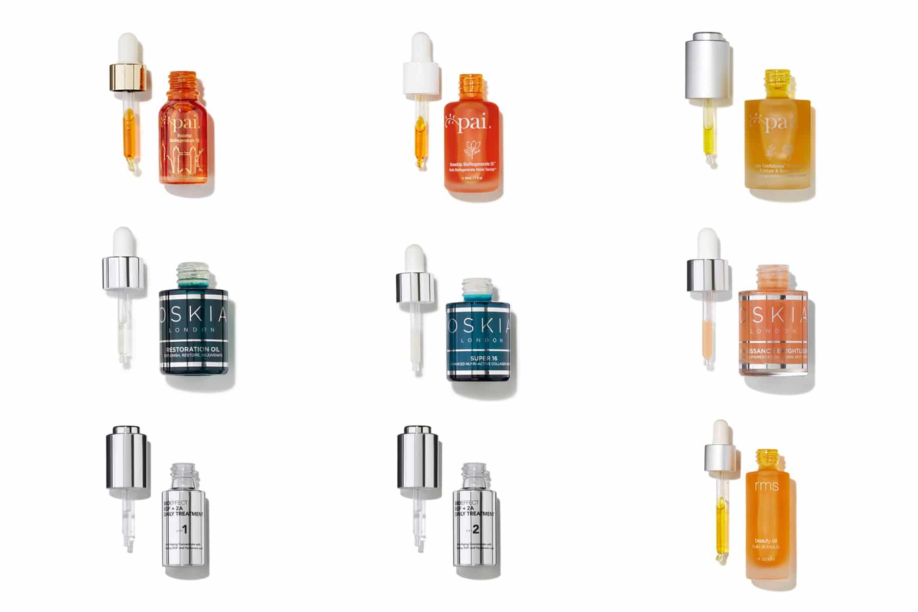 Packshot cosmétiques - Sérums, huiles régénérantes et concentrés Anti-Age - Bioeffect, Pai, Oskia pour Oh My Cream